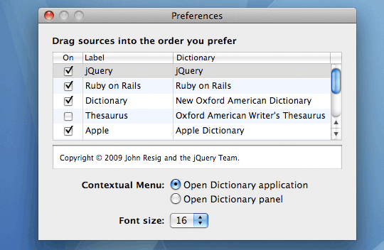 Search jQuery API Docs from Spotlight